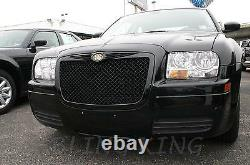 Fits 2005-2010 Chrysler 300 Black Bentley Mesh Grille Chrome Bently Grill