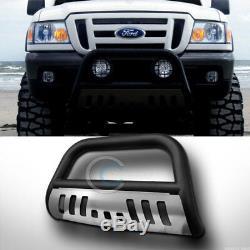 Fits 98-11 Ford Ranger Matte Blk/SS Skid Bull Bar Brush Push Bumper Grille Guard