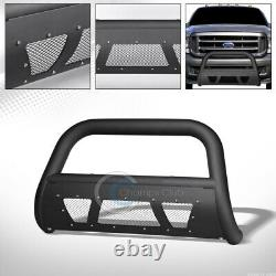 Fits 99-04 Ford F250/F350/Excursion Matte Blk Studded Mesh Bull Bar Grille Guard