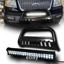 For 03-17 Expedition Blk Steel Bull Bar Bumper Grille Guard+120W CREE LED Light
