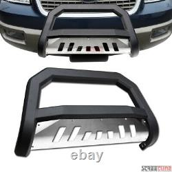 For 03-17 Expedition Matte Blk AVT Bull Bar Push Bumper Grill Grille Guard+Skid