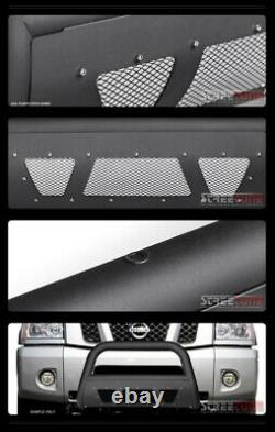 For 04-15 Titan/Armada Matte Blk Studded Mesh Style Bull Bar Grill Grille Guard