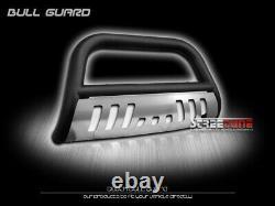 For 05/06-10 Hummer H3 Matte Blk Bull Bar Push Bumper Grill Grille Guard+SS Skid