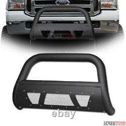 For 05-07 F250/F350 Superduty Matte Blk Studded Mesh Bull Bar Grill Grille Guard