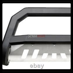 For 05-10 11 Dodge Dakota Matte Blk Avt Bull Bar Bumper Grill Grille Guard+Skid