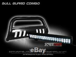For 05-11 Dakota Blk Bull Bar Brush Bumper Grille Guard+120W CREE LED Fog Lights