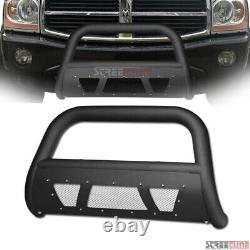 For 05-11 Dodge Dakota Matte Blk Studded Mesh Bull Bar Bumper Grill Grille Guard