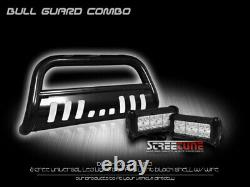 For 05-15 Toyota Tacoma Blk Bull Bar Bumper Grille Guard+36W CREE LED Fog Lamps