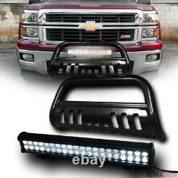 For 07-18 GMC Sierra/Yukon XL 1500 Blk Bull Bar Grille Guard+120W CREE LED Lamp
