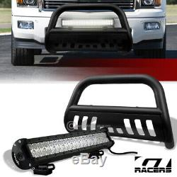 For 07-18 Silverado/Sierra 1500 Matte Blk Bull Bar Guard+120W CREE LED Fog Light