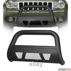 For 08-10 Jeep Grand Cherokee Matte Blk Studded Mesh Bull Bar Grill Grille Guard