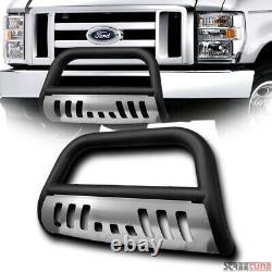 For 08-14 Ford E150/E250/E350 Matte Blk Bull Bar Push Bumper Grill Guard+SS Skid