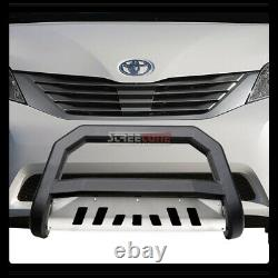 For 11-19 Toyota Sienna Matte Blk Avt Bull Bar Bumper Grill Grille Guard+SS Skid