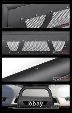 For 11-20 Toyota Sienna Matte Blk Studded Mesh Bull Bar Push Bumper Grille Guard