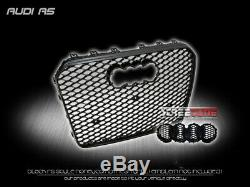 For 13+ Audi A5 B8.5 Euro Blk RS Honeycomb Mesh Front Bumper Grill Grille Cover