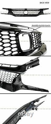 For 16-18 Honda CIVIC Ctr Style Front Bumper Lip Splitter + Honeycomb Blk Grille