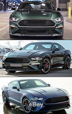 For 18-2020 Ford Mustang Bullitt Style Badgeless Matt Blk Honeycomb Front Grille