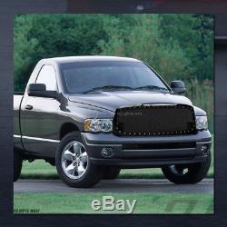 For 2002-2005 Dodge Ram Blk Rivet Bolt Steel Mesh Front Hood Bumper Grill Grille