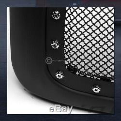 For 2002-2005 Dodge Ram Matte Blk Rivet Bolt Steel Mesh Front Hood Bumper Grille