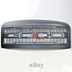 For 2008-2010 F250 F350 honeycomb mesh Grill Grille with amber LED BLACK