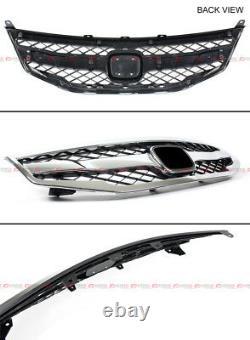 For 2011-12 Honda Accord 4dr Blk Chrome Sport Grill + Front Bumper Splitters Lip