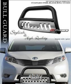 For 2011-2020 Toyota Sienna Matte Blk Bull Bar Bumper Grill Grille Guard withSkid