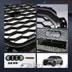 For 2013-2017 Audi Q5 Blk Rs Honeycomb Mesh Front Bumper Grill Grille+Logo Base