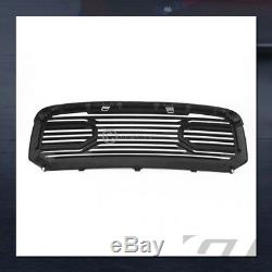 For 2013-2018 Dodge Ram 1500 Glossy Blk Big Horn Front Hood Bumper Grill Grille