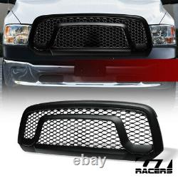 For 2013-2018 Dodge Ram 1500 Matte Blk Rebel Honeycomb Mesh Front Bumper Grille