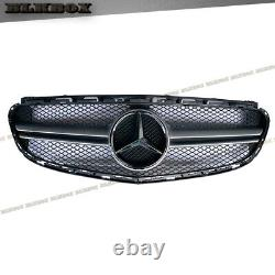 For 2014 2015 2016 Mercedes Benz W212 4 Door Silver E63 Front Grille Gloss Black