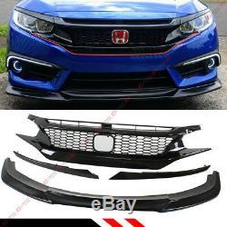 For 2016-18 Honda CIVIC Front Bumper Lip Spoiler Splitter + Honeycomb Blk Grille