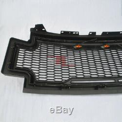 For 2017-2019 F250 F350 honeycomb mesh Grill Grille with amber LED BLACK