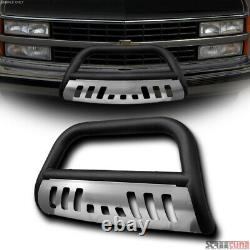 For 97-00 Chevy/GMC C10 C/K Truck Matte Blk Bull Bar Bumper Grille Guard+SS Skid