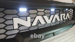 Front Grill For Nissan Navara Np300 2015-2020 White Leds Matt Blk White Logo
