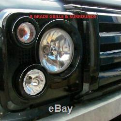 Gloss Black SVX style front grille kit for Land Rover Defender 90 110 60th 2nd