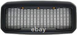 Matte Black 11-16 Ford F250 F350 Raptor Style Grille Led Light
