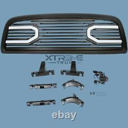 Matte Black Led Grille For 10-18 Dodge Ram 2500 3500 Replacement Upper