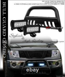 Matte Blk Bull Bar Bumper Grill Guard+36W CREE LED Fog Lights For 05-15 Xterra