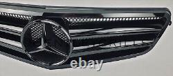 Mercedes C Class W204 AMG Grille GT Look Full Gloss Black Grill
