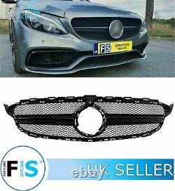 Mercedes C Class W205 C205 A205 Front Lip, C63 Style Grille Gloss Blk No Camera