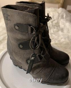 SOREL Joan Of Arctic Wedg Women Sz 7.5 Leather Waterproof Boot Grill Blk/Brn New