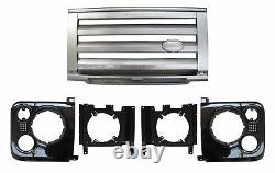 SVX style front grille kit for Land Rover Defender 90 110 silver black Xtech