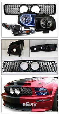 Topline For 05-09 Mustang GT Halo LED Blk Headlights+Bumper Am+Mesh Grille Matte