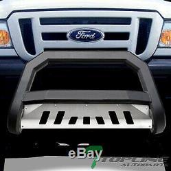 Topline For 1998-2011 Ford Ranger AVT Bull Bar Grille Guard Matte Blk/Aluminum