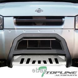 Topline For 2001-2004 Nissan Frontier AVT Bull Bar Grille Guard Matte Blk/Skid
