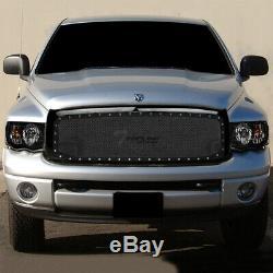 Topline For 2002-2005 Dodge Ram Blk Headlights Signal nb+Rivet Bolt Mesh Grille
