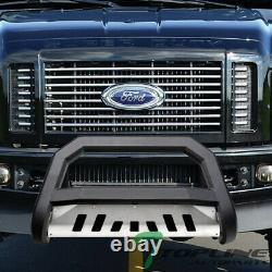 Topline For 2008-2010 Ford F250/F350 AVT Bull Bar Grille Guard Matte Blk/Skid