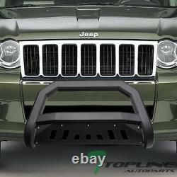 Topline For 2008-2010 Jeep Grand Cherokee AVT Bull Bar Grille Guard Matte Blk