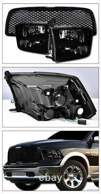 Topline For 2009-2012 Dodge Ram 1500 Quad Lamp Blk Headlights Signal+Mesh Grille
