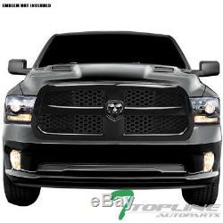 Topline For 2013-2018 Dodge Ram 1500 OE Honeycomb Mesh Front Bumper Grille Blk